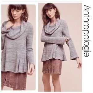 Anthropologie Moth Gray Cowlneck Swing Sweater S